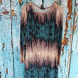 TART Womens Long Sleeve Short Dress faux wrap